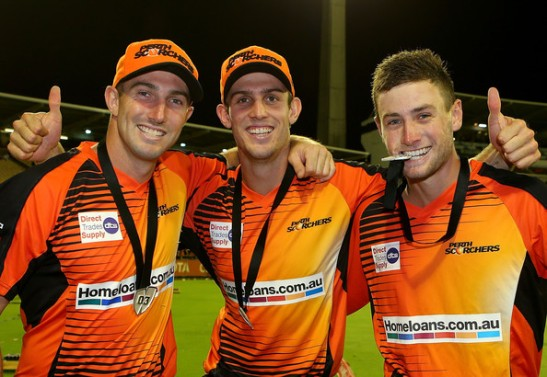 Shaun Marsh, Mitchell Marsh and Sam Whiteman